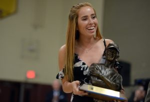 Citrus Valley High Schools Claire Graves receives the Ken Hubbs Awards on Monday, May 15, 2017 at Colton High School in Colton, Ca. (Micah Escamilla, Redlands Daily Facts/SCNG)